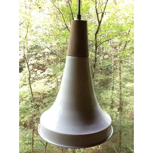 Double Dip Enamel Metal & Wood Pendant Light - Image 3 of 3