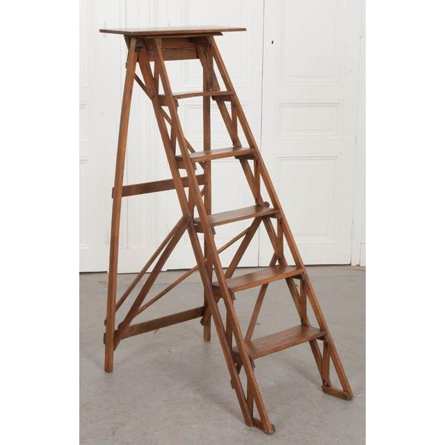 French French Early 20th Century Oak Folding Ladder For Sale - Image 3 of 13