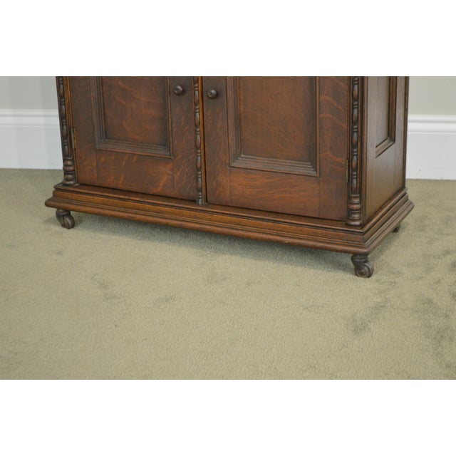 Traditional Antique Miniature Victorian Oak 2 Door Bookcase Cabinet For Sale - Image 3 of 13