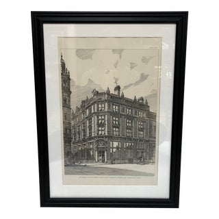 1893 Antique National Provincial Bank of England Piccadilly Drawing For Sale