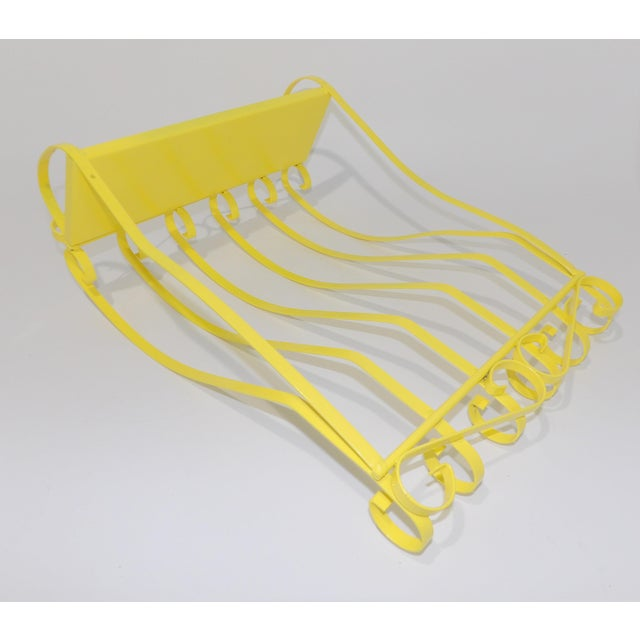 Antique Electric Yellow Wrought Iron Patio Shelf For Sale - Image 10 of 11