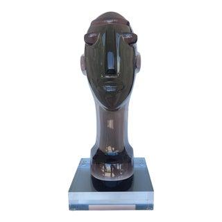 Shomi Haziza Acrylic Smokey Gray Bust Sculpture For Sale
