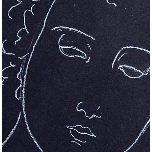"Contemporary Sarah Myers ""Woman With Curling Hair"" Minimalist Inspired White Charcoal Drawing For Sale - Image 3 of 5"