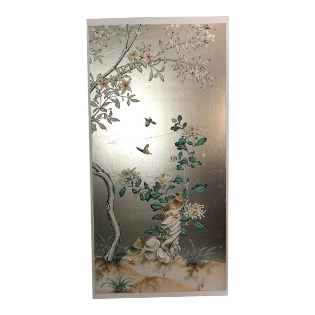 Handpainted Chinoiserie Wallpaper Panel, Silver Metal Leaf With Birds For Sale