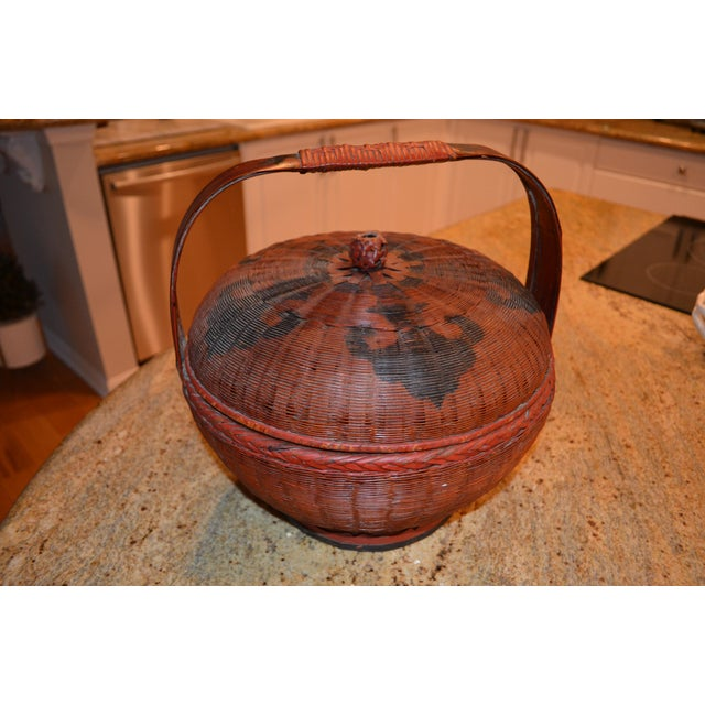 Red Vintage Chinese Sewing Basket For Sale - Image 8 of 8
