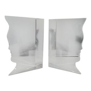 Van Teal Lucite Face Bookends - a Pair For Sale