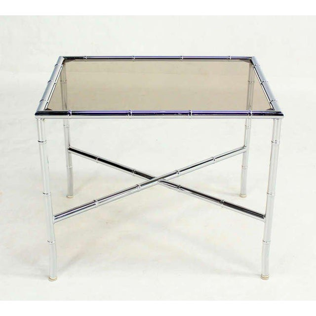 Pair of Faux Bamboo Chrome and Smoked Glass End Tables For Sale - Image 9 of 10