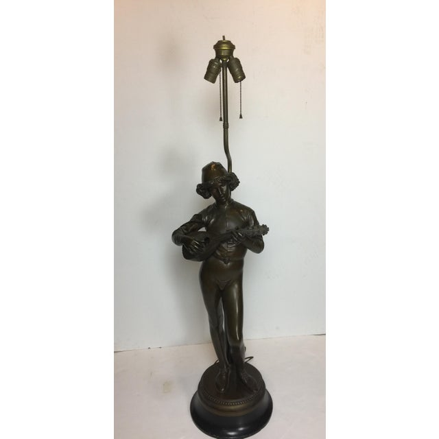 French Barbadian Foundry Bronze Statue of Boy With Mandolin on Bronze and Wooden Base Floor Lamp For Sale In Los Angeles - Image 6 of 13