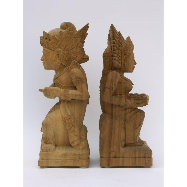 Hand-Carved Wood Balinese Statues - A Pair - Image 4 of 5