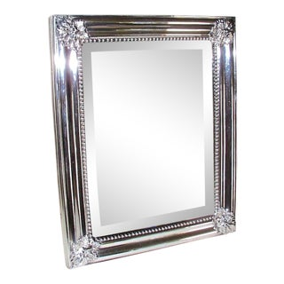 19th Century Traditional Silver Plated Framed Mirror For Sale