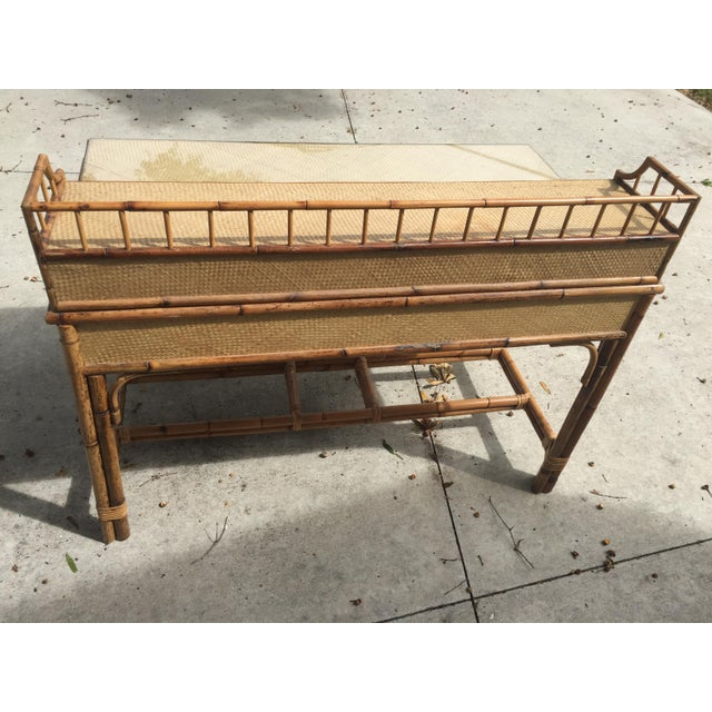 1950s Boho Chic Palm Beach Regency Bamboo & Rattan Desk For Sale - Image 4 of 9