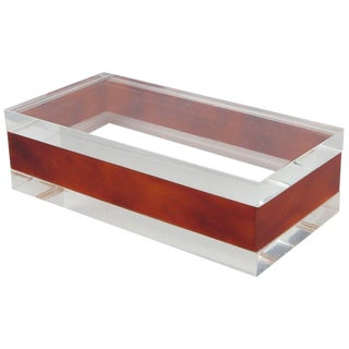 French Mid-Century Modern Rectangular Lucite Box For Sale