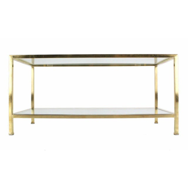 Solid Brass Tube Rectanglar Coffee Table For Sale In New York - Image 6 of 7