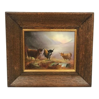 Early 20th Century Antique Crown Devon Fielding Highland Cattle Porcelain Plaque For Sale