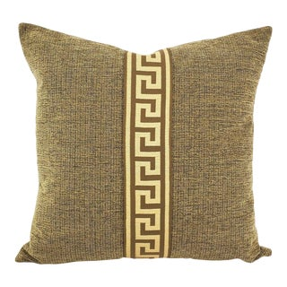"""Tan and Black Textured Chenille With Brown and Cream Greek Key Trim Pillow Cover - 20"""" X 20"""" Solid Textured Chenille Cushion Cover For Sale"""