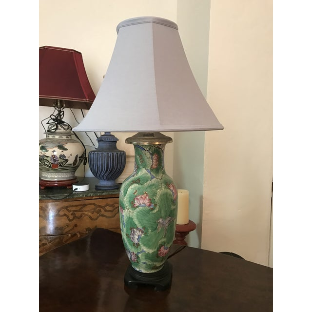Lights 1920s Chinoiserie Hand Painted Green Vase Table Lamp For Sale - Image 7 of 7