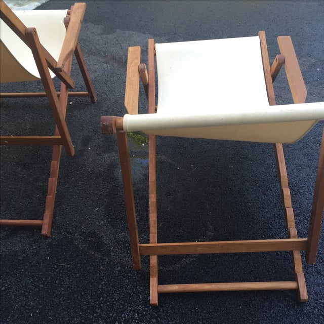Wood Slingback Canvas Chairs - A Pair For Sale - Image 7 of 11