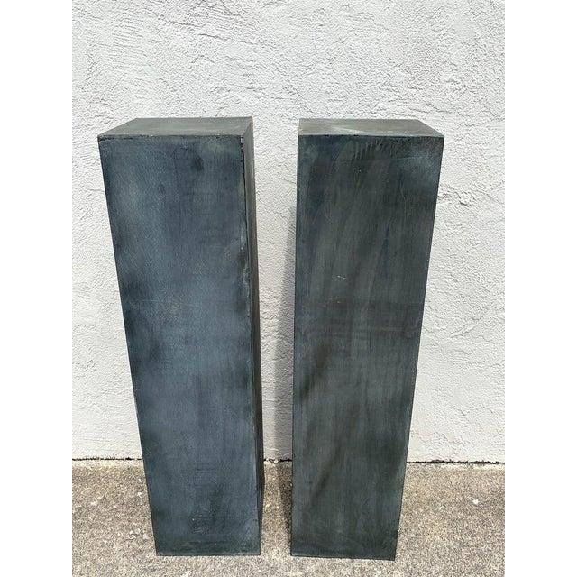 Pair of Industrial Verdigris Lead Columns For Sale - Image 4 of 9