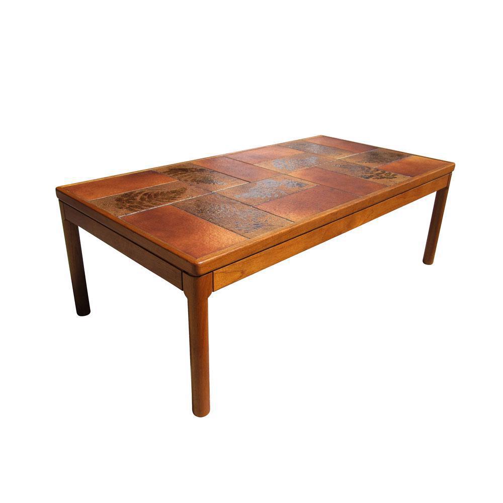 Vintage Trioh Of Denmark Danish Teak Glazed Tile Coffee Table