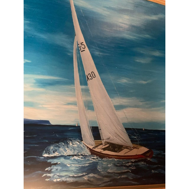 1970s Americana Sailboat Large Framed Oil Painting, by R. Morrow For Sale - Image 5 of 11