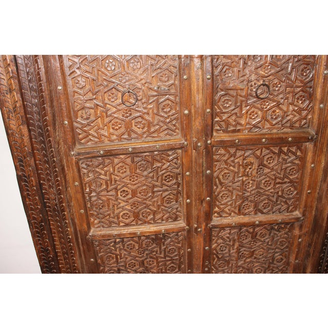 Rustic Antique Indian Style Hand Carved Haveli Wood Double Doors For Sale -  Image 4 of - Rustic Antique Indian Style Hand Carved Haveli Wood Double Doors