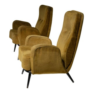 Set of Two Lounge Chairs in the Style of Giulio Minoletti For Sale