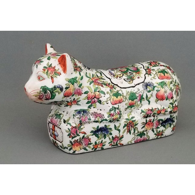 Asian Chinese Ceramic Porcelain Cat Table Sculpture Pillow Sculpture For Sale - Image 3 of 12