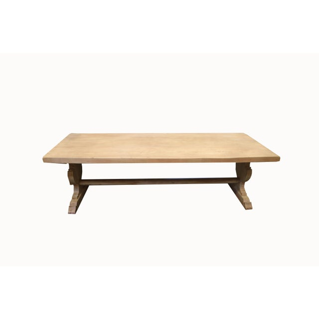 Wood Spanish Bleached Elm Dining Table With Trestle Base For Sale - Image 7 of 7