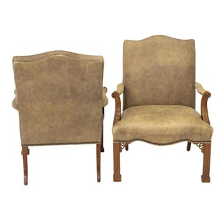 Vintage Chinese Chippendale Style Gray Tan Brushed Leather Arm Chairs- a Pair Preview