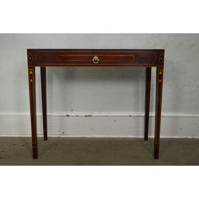 Henkel Harris Henkel Harris Mahogany Federal Style Marble Top Inlaid Console Mixing Table For Sale - Image 4 of 10
