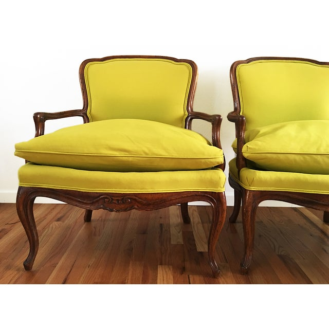 Vintage French Bergere Down Stuffed Chairs - Pair - Image 4 of 9