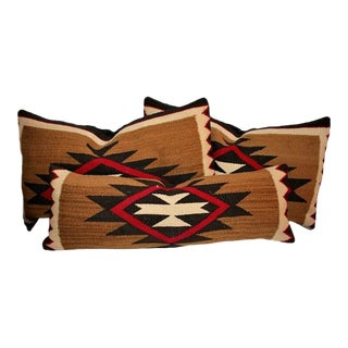 Group of Three Early Navajo Weaving Pillows For Sale