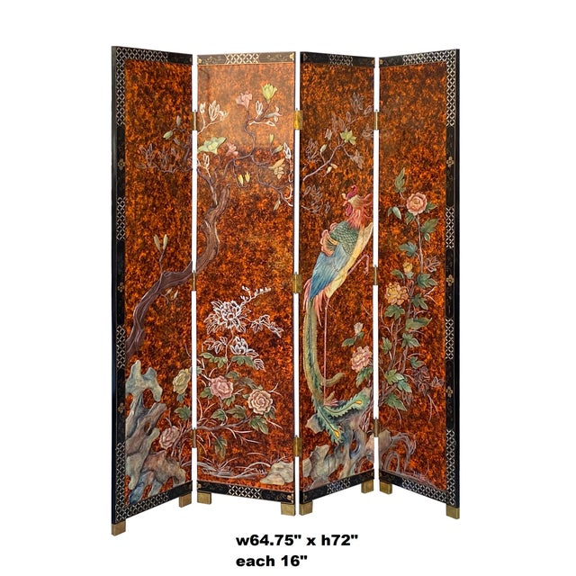 This is a set of four black lacquer surface panels screen room divider with color hardstone inlaid in traditional Chinese...