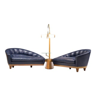 Blue Leather Aladino Sofa by Massimo Scolari for Giorgetti, Italy For Sale