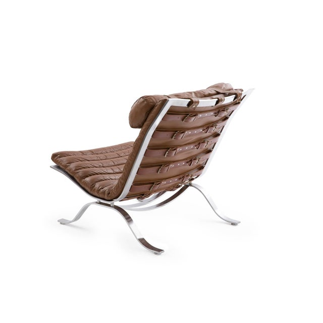 "Arne Norell 1960s Arne Norell ""Ari"" Steel and Leather Lounge Chair For Sale - Image 4 of 6"