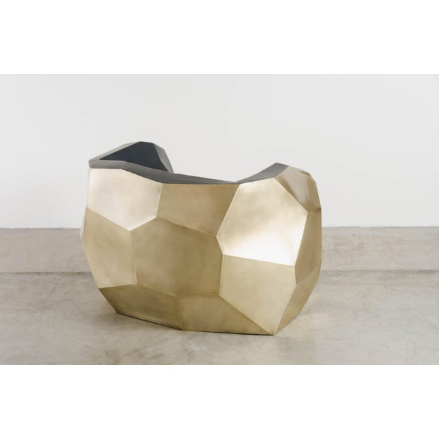 2010s Hand Repousse Facet Lounge Chair in Brass W/ Black Lacquer by Robert Kuo, Limited Edition For Sale - Image 5 of 9