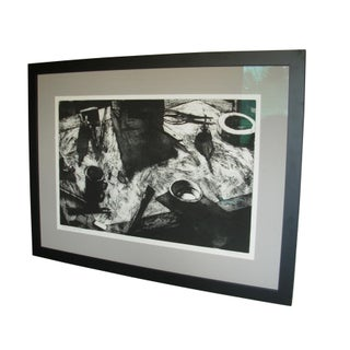 """Large Abstract """"Drawing Board"""" Black and White Etching Preview"""