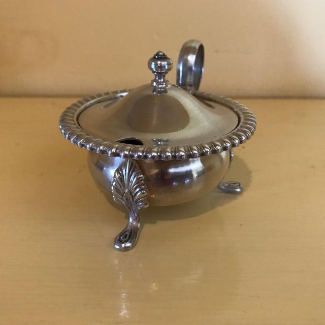 Vintage Silver Mustard Pot & Matching Salt Cellars - Set of 3 For Sale - Image 5 of 8