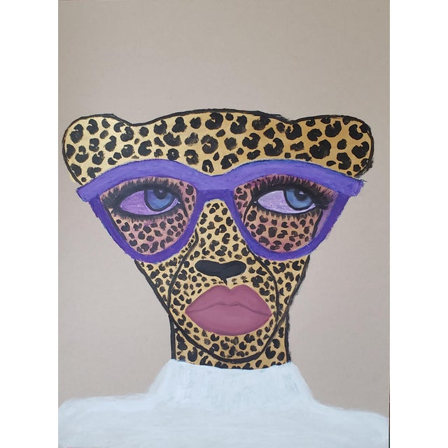 """Illustration """"Purple Shades Cheetah"""" Mixed Media Drawing *Price Is Firm* For Sale - Image 3 of 3"""