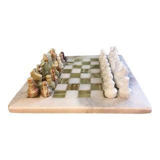 Vintage Solid Green & White Onyx Chess Set