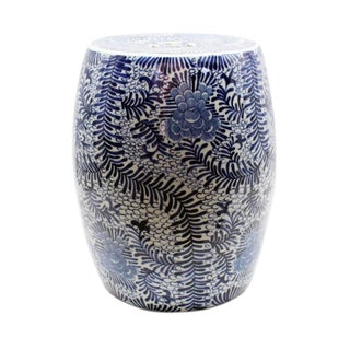 Asian Modern Blue & White Blooming Flowers Porcelain Garden Stool