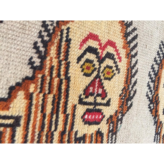Vintage Turkish Rug Double Lion Tibetan Style Wool Rug - 4′7″ × 7′9″ For Sale - Image 10 of 10