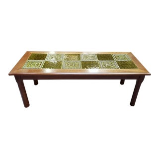 Vintage Glazed Green Tile Top Coffee Table C.1970s For Sale