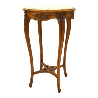 French Louis XV Walnut Round End Table For Sale