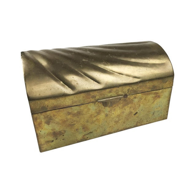 Vintage Mid-Century Solid Brass Treasure Chest With a Beautiful Shell / Wave Pattern on Top - Image 1 of 3