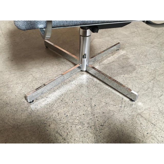 Chrome Mid-Century Modern Fortress Blue Upholstered Chrome Swivel Desk Chair For Sale - Image 7 of 10