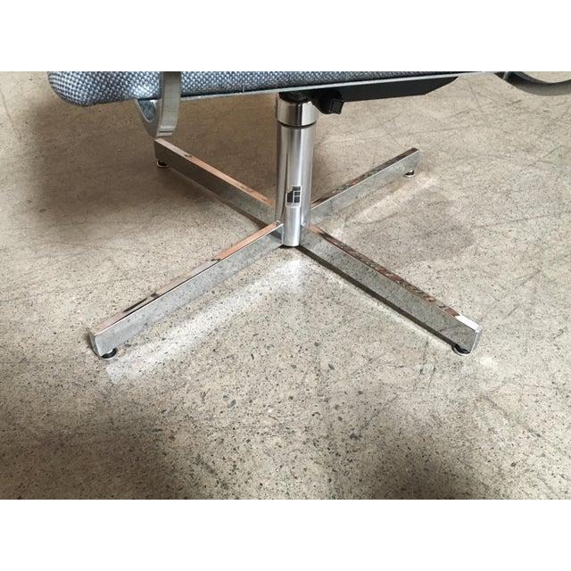 Mid-Century Modern Fortress Blue Upholstered Chrome Swivel Desk Chair - Image 7 of 10