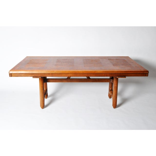 Mid-Century Modern Mid-Century Modern Extension Dining Table Attributed to Guillerme Et Chambron For Sale - Image 3 of 12