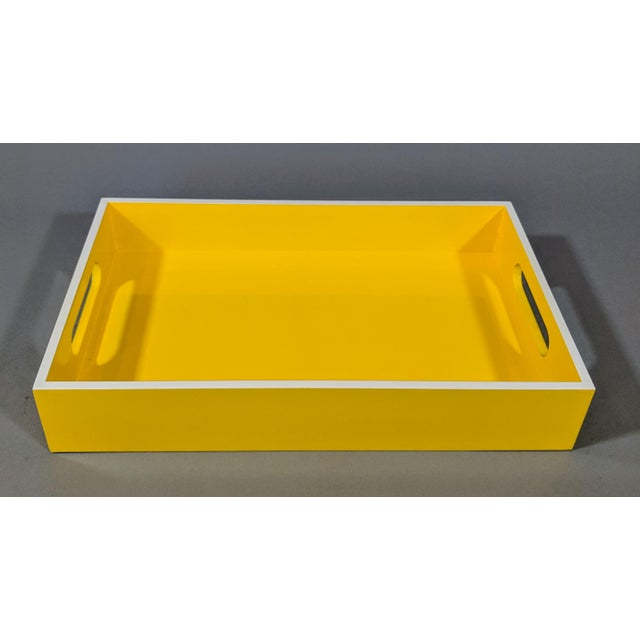 Yellow and White Lacquered Tray For Sale - Image 4 of 10