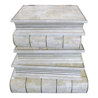 1970s Figurative Maitland-Smith Tessellated White Stone Brass Trim Stacked Books End Table For Sale